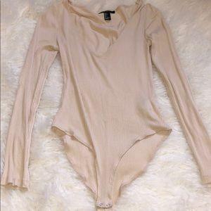 Cream Ribbed Bodysuit